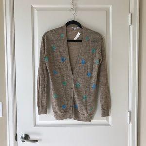 Madewell beige polka dot cardigan, size M